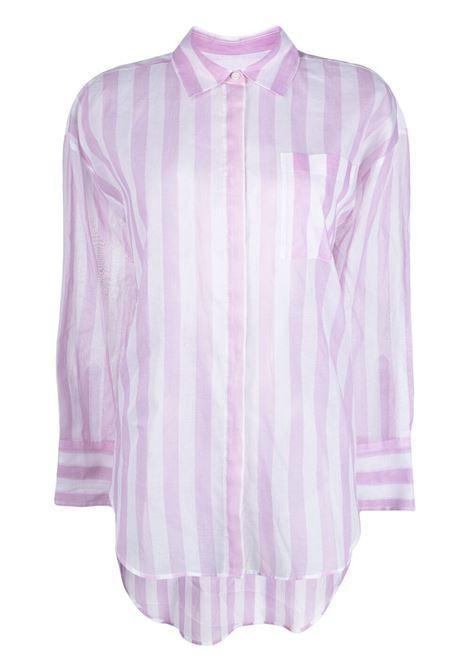 Camicia semi trasparente con stampa a righe MSGM | Camicia | MDE116A21731012