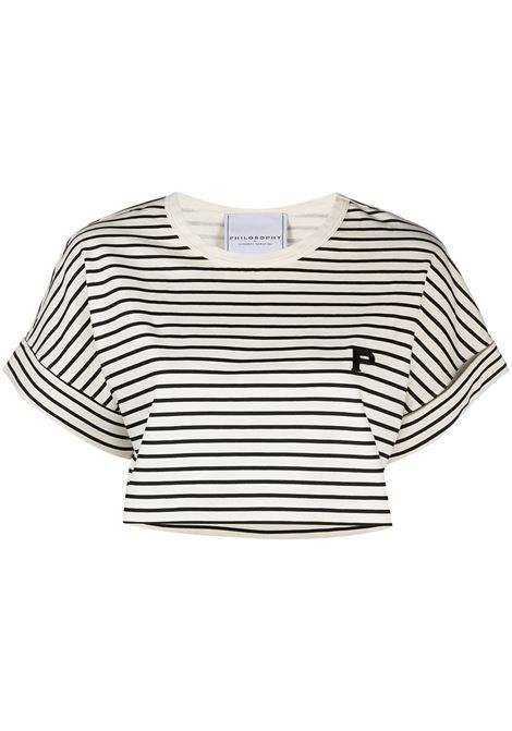 T-shirt crop a righe, con logo PHILOSOPHY di LORENZO SERAFINI | T-shirt | A07017461555