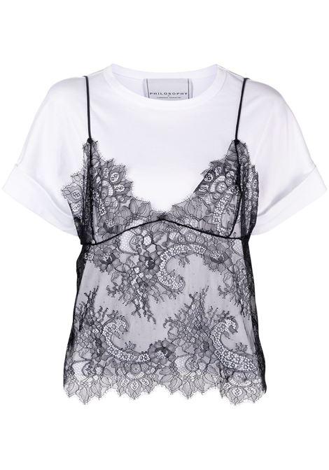 T-shirt con top in pizzo PHILOSOPHY di LORENZO SERAFINI | T-shirt | A07057462