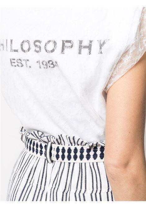 T-shirt con pizzo e logo PHILOSOPHY di LORENZO SERAFINI | T-shirt | A07077462