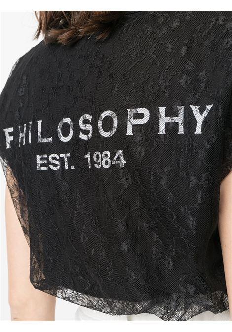 T-shirt girocollo  con pizzo e logo PHILOSOPHY di LORENZO SERAFINI | T-shirt | A0707746555