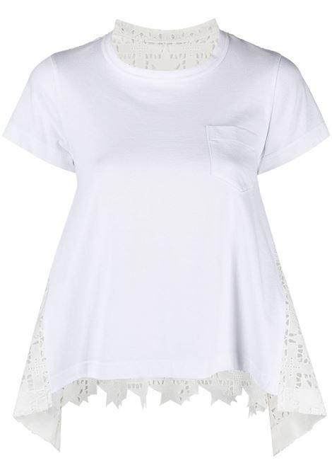 T-shirt con parte posteriore traforata e drappeggiata SACAI | T-shirt | 21-05471101