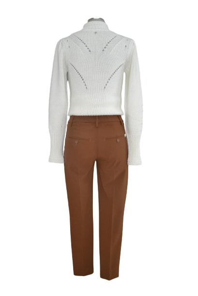 Pantalone slim perfect in tela di lana tabacco DONDUP | 9 | DP066TS0009D016