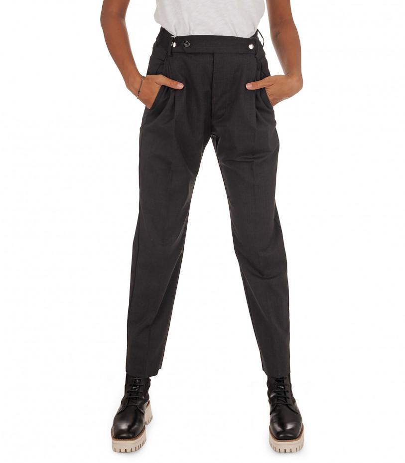 Grifoni Pantalone nero con automatici in lana vergine Grifoni   9   GH240008/18003