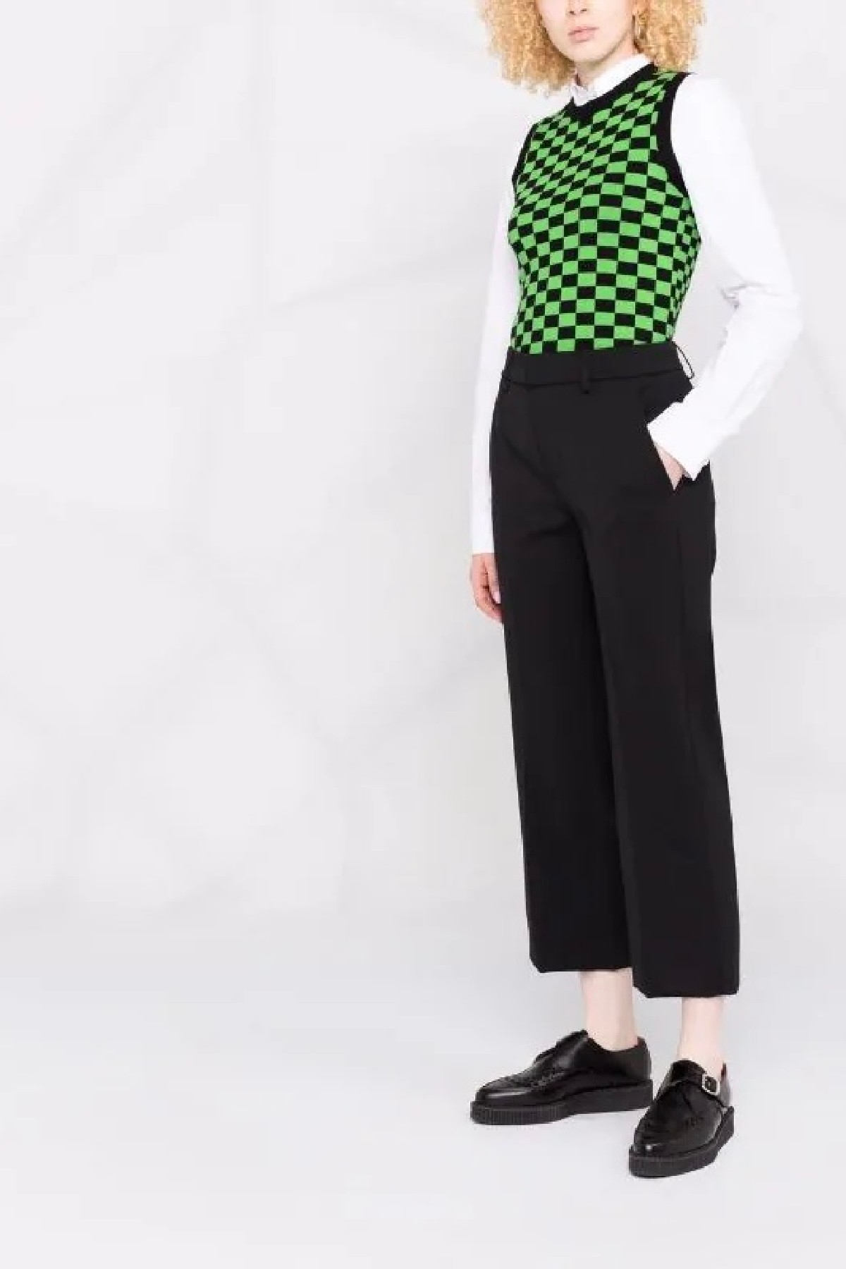 pantalone cropped loose meli nero in tela di lana bistretch DONDUP | 9 | DP575GS0050D999