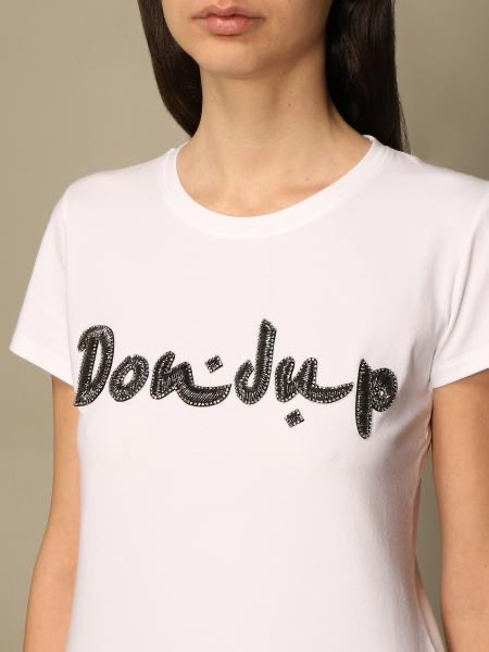 Dondup T-shirt slim in jersey stretch con logo gioiello DONDUP | 8 | S007JS0241DBI3000