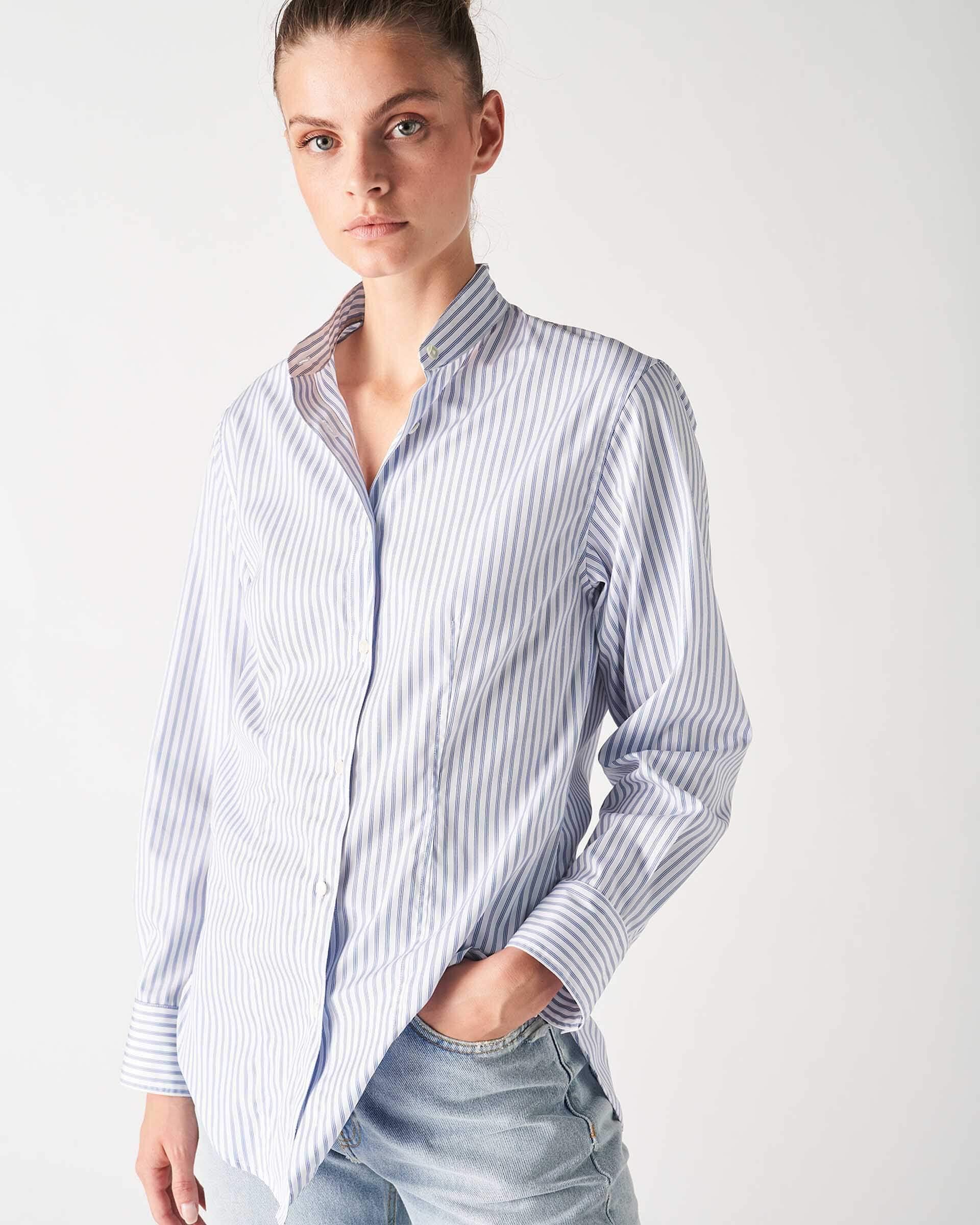 Grifoni camicia rigata in cotone collo coreana Grifoni | 6 | GI220027/24002
