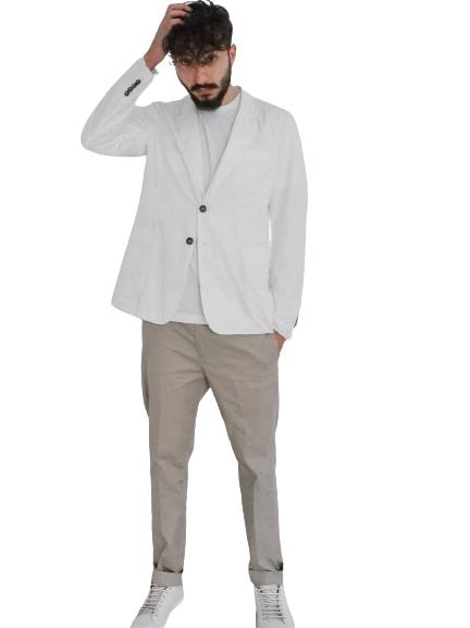 Grifoni Giacca a monopetto in tela di cotone bianco Grifoni | 3 | GI34012/13001