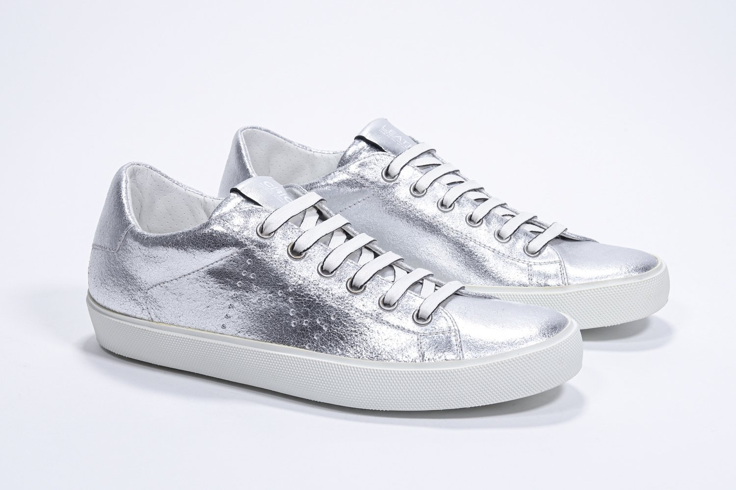 Leather Crown sneakers in pelle laminato argento LEATHER CROWN | 12 | LC136201201