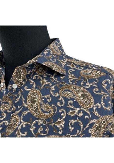 Brian Dales Camicia blu fantasia marrone jacquard BRIAN DALES | 6 | BS419MST8221002