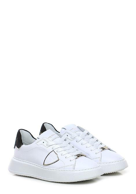 Sneakers temple low woman velour blanc noir Philippe Model | 10000002 | BTLDXE01