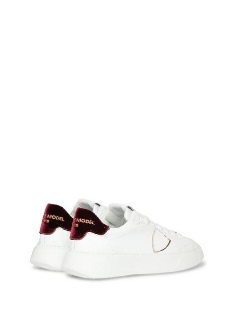 Sneakers temple low woman velour blanc bordeaux Philippe Model | 10000002 | BTLDXE02