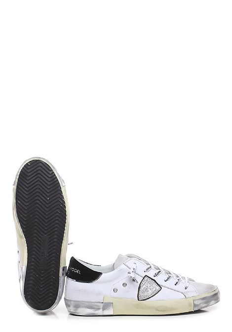 sneakers donna  prsx low woman veau velour blanc noir Philippe Model | 10000002 | PRLDXE01