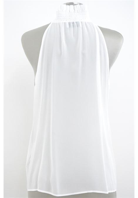 Dondup blusa Bianca con catena in georgette senza maniche DONDUP | 6 | DC197IF0017D000