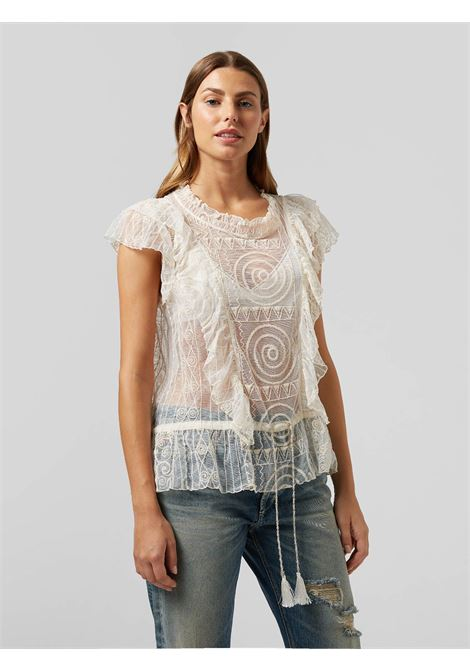 Dondup top S/M in tulle ricamato Con Volant  DONDUP | 6 | DC200ZF0054D007