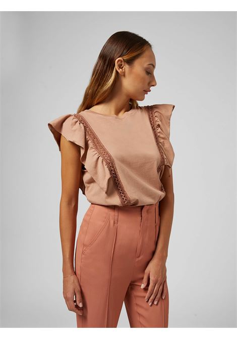 Dondup Top in cotone con volant e ricami DONDUP | 40 | S873JF0290D51