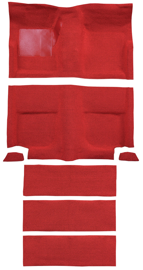 1965-1968 Ford Mustang Carpet Replacement - Nylon - Complete | Fits: Fastback, with Folddowns