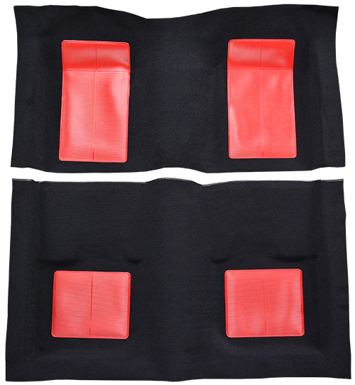 1969 Ford Mustang Carpet Replacement - Nylon - Complete | Fits: Fastback, Mach I with 4 Red Inserts