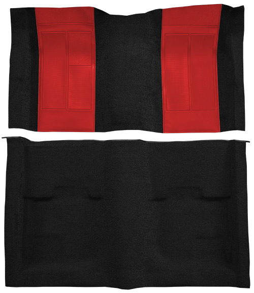 1970 Ford Mustang Mach I Carpet Replacement - Nylon - Complete | Fits: Fastback, with 2 Red Inserts