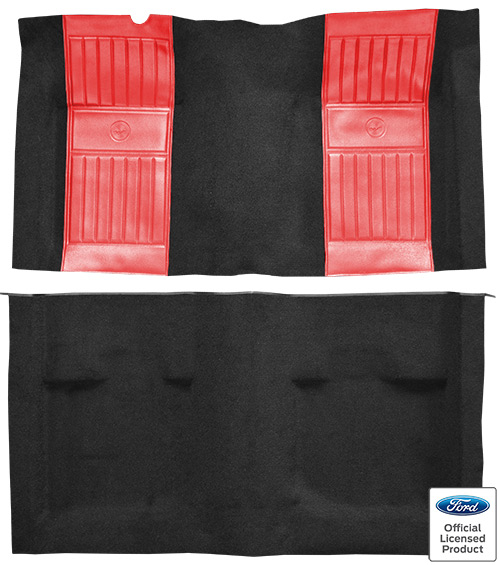 1971-1973 Ford Mustang Mach I Carpet Replacement - Nylon - Complete | Fits: Fastback, with 2 Red Running Pony Inserts