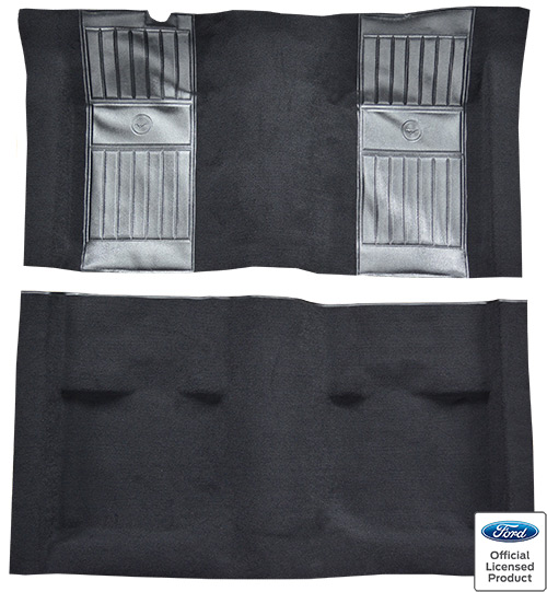 1971-1973 Ford Mustang Mach I Carpet Replacement - Nylon - Complete | Fits: Fastback, with 2 Black Running Pony Inserts