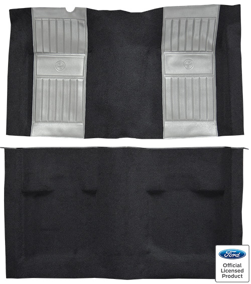 1971-1973 Ford Mustang Mach I Carpet Replacement - Nylon - Complete | Fits: Fastback, with 2 Gray Running Pony Inserts