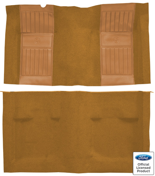 1971-1973 Ford Mustang Mach I Carpet Replacement - Nylon - Complete | Fits: Fastback, with 2 Medium Saddle Running Pony Inserts
