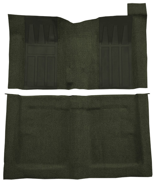 1969-1970 Ford Ranchero GT Carpet Replacement - Loop - Complete | Fits: 4spd, with 2 Dark Green Inserts
