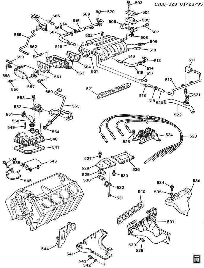 1990 1995 Chevy Corvette Zr1 Lt5 Air Horn To Throttle Body Bolt