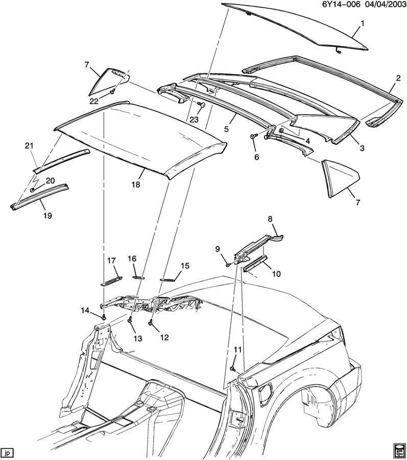 04 09 cadillac xlr xlr v top weatherstrip sealing weather strip rh rh factoryoemparts com cadillac xlr parts catalog Cadillac XLR Performance Parts