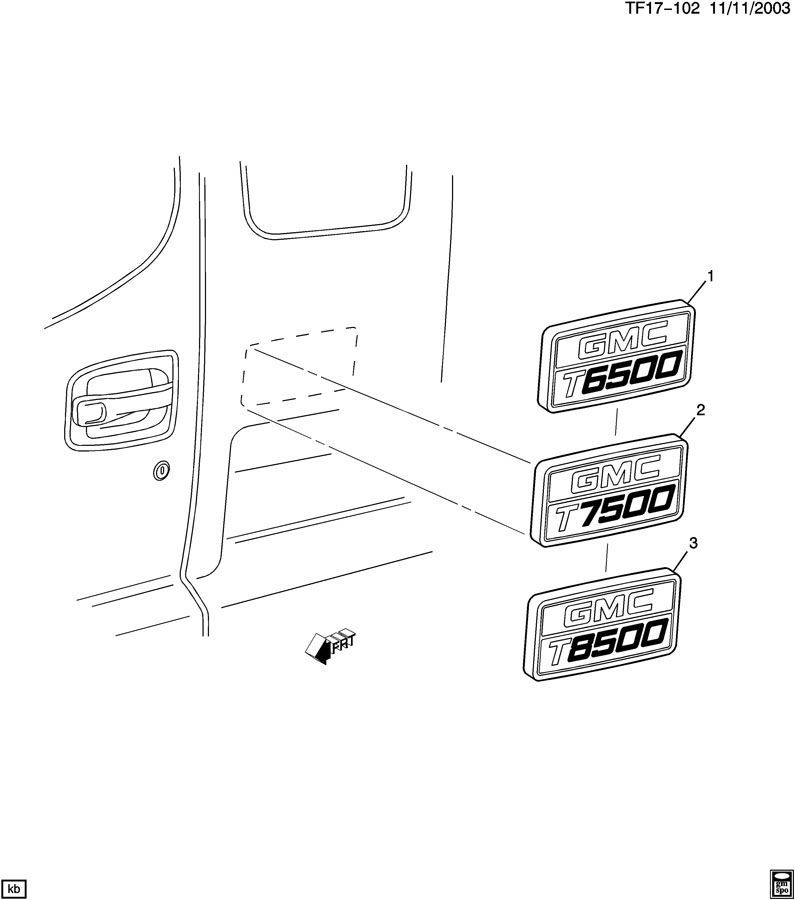 1997-2009 GMC Topkick T8500 Nameplate Badge Label Decal Model Logo ...