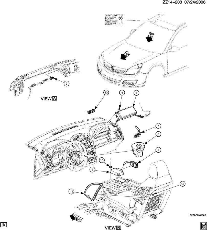2007 saturn vue airbag module location
