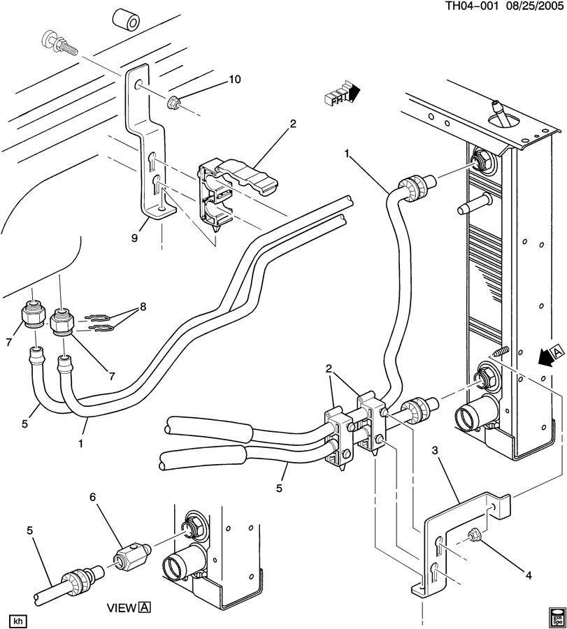 2003 kodiak transmission oil cooler adapter