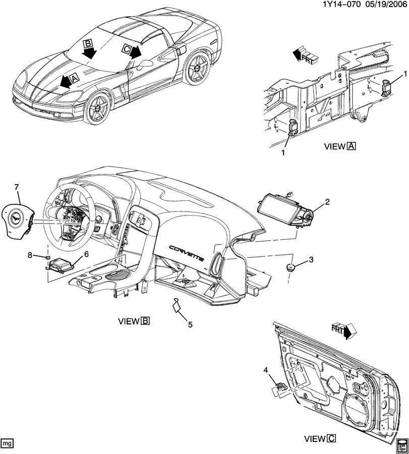 2009 2011 Chevy Corvette C6 Z06 Air Bag Module Ecu New Oem