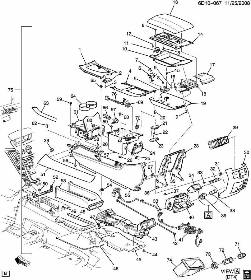 2009 cadillac cts center console assembly w  easy key ebony