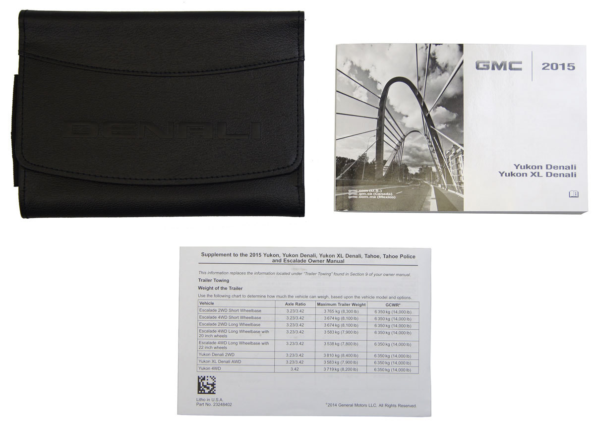 2015 gmc yukon denali xl denali owners manual book w leather case rh factoryoemparts com gmc owners manual jacket cover gmc owners manual cover