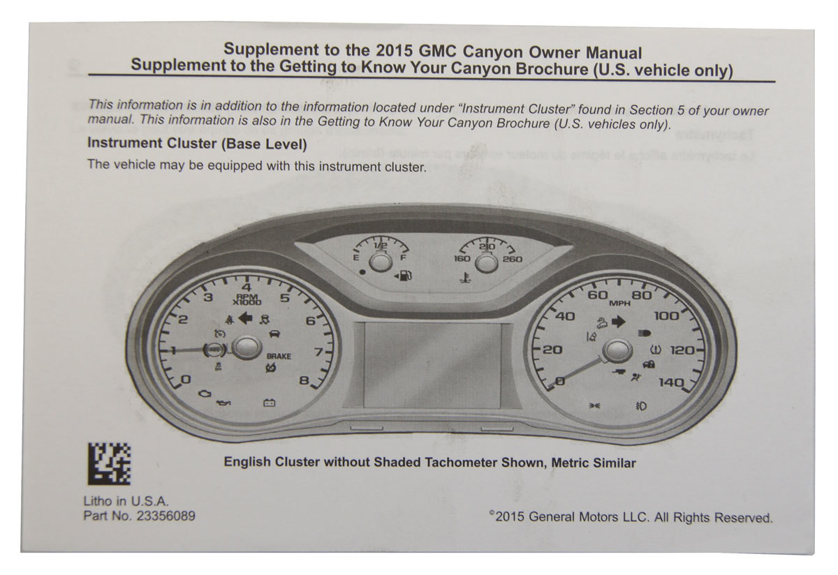 2015 gmc canyon us owners manual booklet new oem 23356083 23356089 rh factoryoemparts com gmc canyon owners manual gmc canyon owners manual 2008