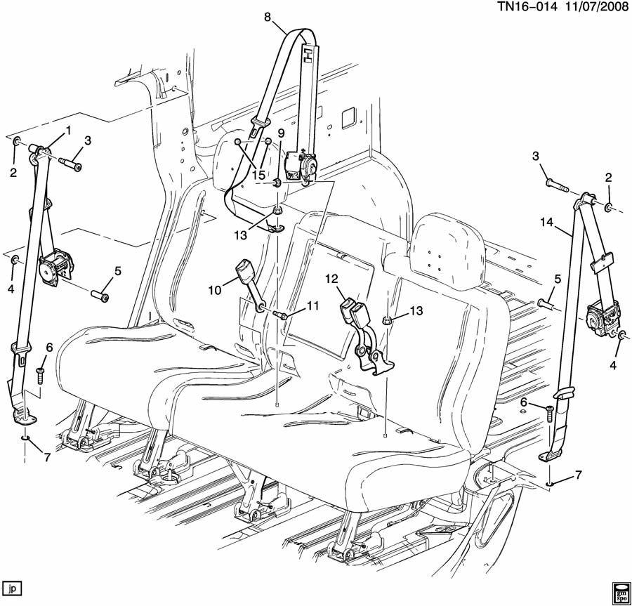 2005 2009 Hummer H2 Suv Lh Rear Drivers Side Seat Belt