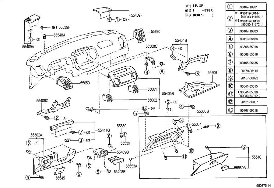 2002 2004 Toyota Camry Instrument Panel Trim Glove Box
