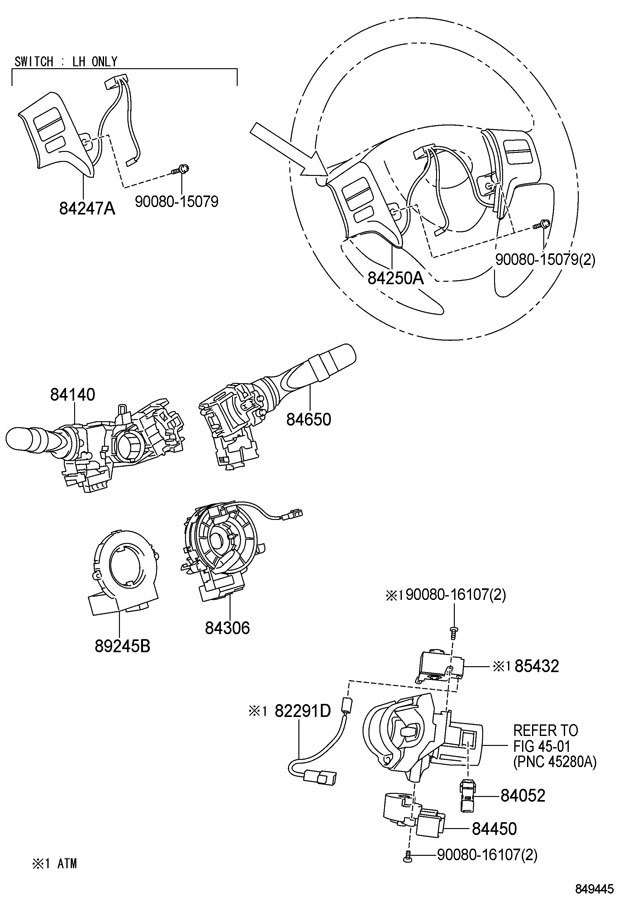 2009 2013 Toyota Corolla Matrix Lh Steering Wheel Audio Switch