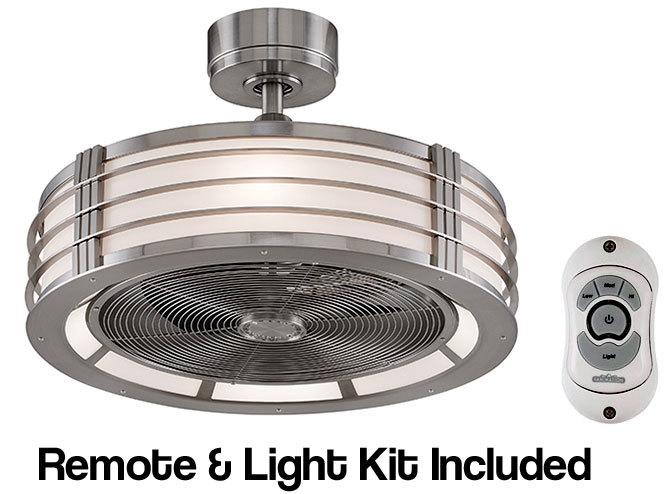 "23"" Fanimation Beckwith BN Drum Ceiling Fan w/Remote Control & Light Kit Retro"