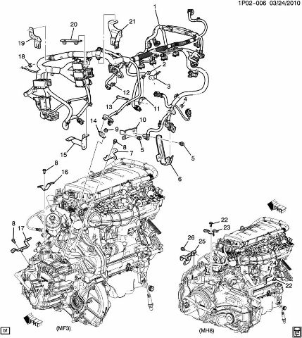 chevrolet cruze  turbo  spd auto engine wiring