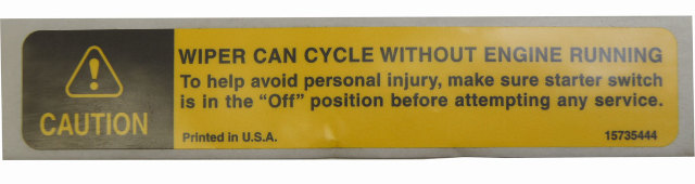 1997 chevy kodiak caution label english