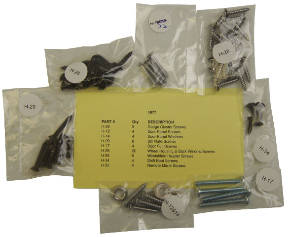 1977 chevrolet corvette c3 interior screw kit set 63 pieces new factory oem parts. Black Bedroom Furniture Sets. Home Design Ideas
