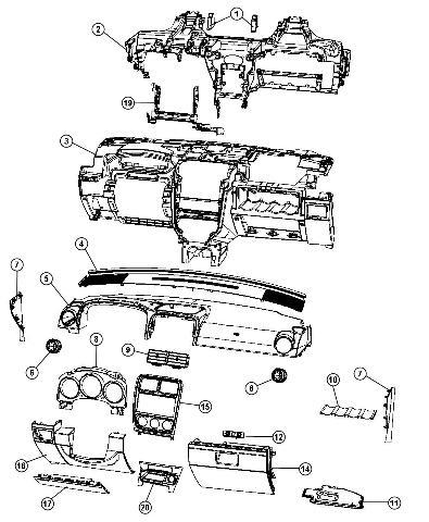 2010-2012 Dodge Caliber Glove Box Door Export Models Greystone New 1QX76BD3AA