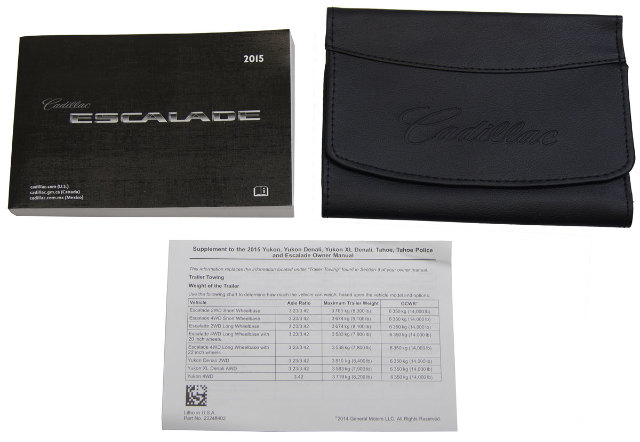 2015 Cadillac Escalade/ESV US Owners Manual Book W/Leather Case New 23248420