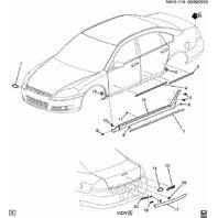 2006-2014 Chevy Impala Rear LH Door Outside Body Moulding New OEM Black 19120768