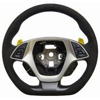 2014-2018 Corvette C7 Steering Wheel Black Suede W/Yellow Stitch New 84131483