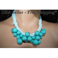 Turquoise Beaded Necklace Beads Bubble Bib Crew USA Seller-Free Shipping J-N5