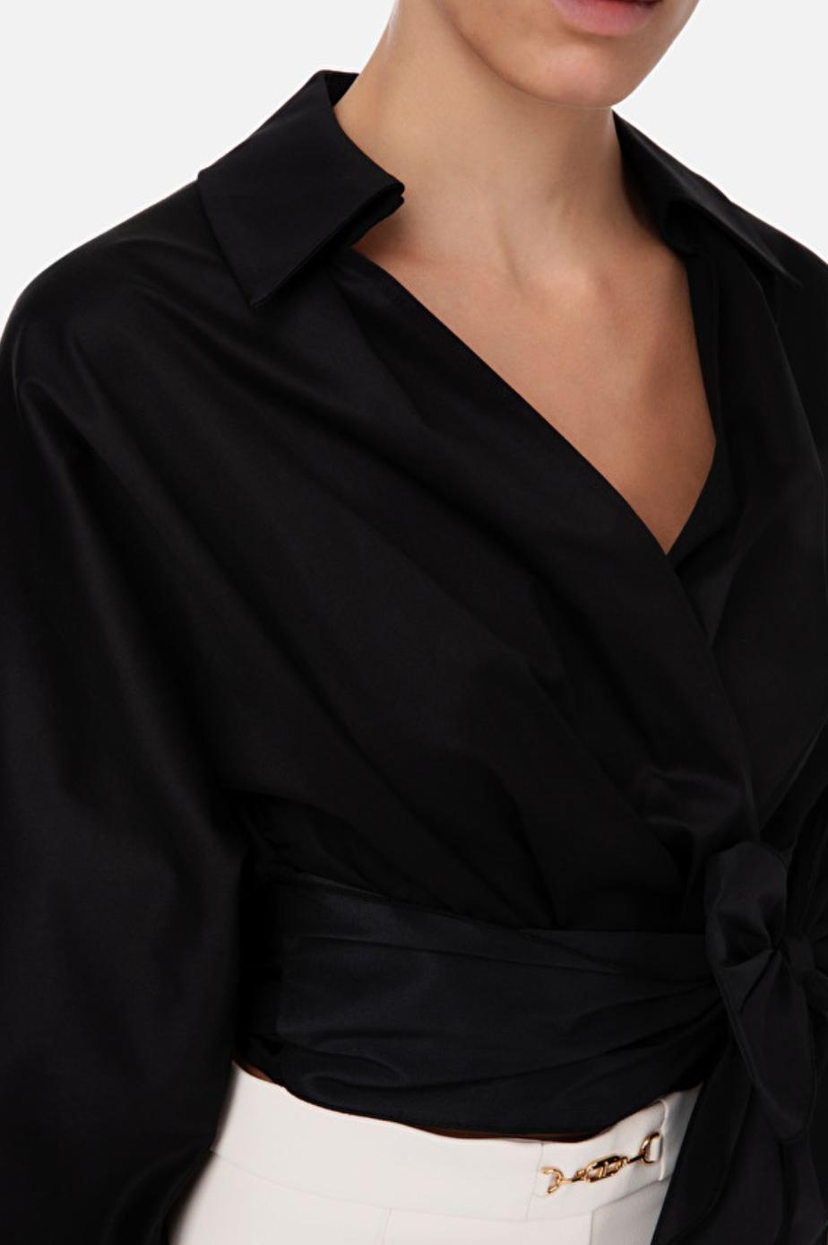 Camicia in cotone con maxi fiocco in vita Elisabetta Franchi ELISABETTA FRANCHI   Camicia   CA29806E2110